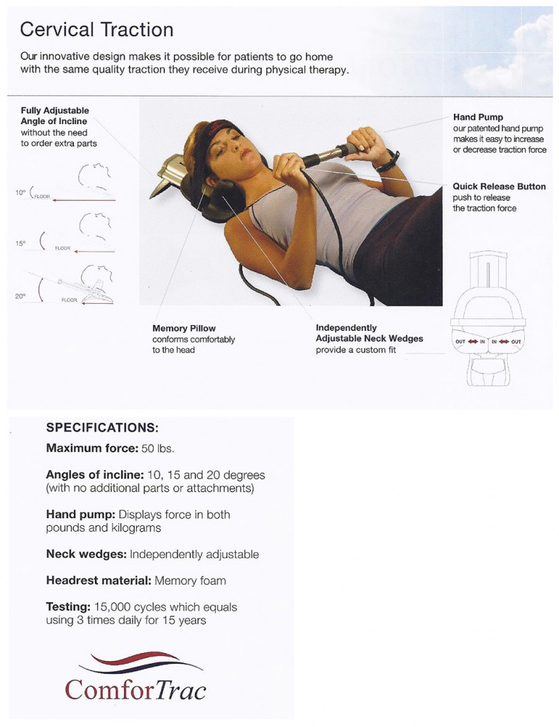 ComforTrac cervical traction with quick release pump
